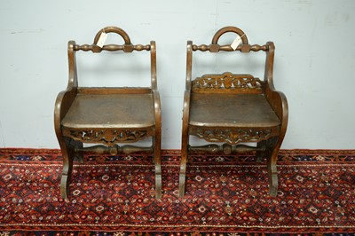 Lot 47 - A pair of 19th Century oak hall chairs