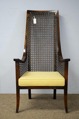 Lot 13 - Arts & Crafts high back mahogany armchair.
