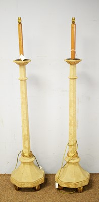 Lot 17 - Pair of 20th C Gothic style standard lamps.