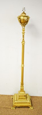Lot 19 - 20th C brass telescopic oil lamp converted for electricity.