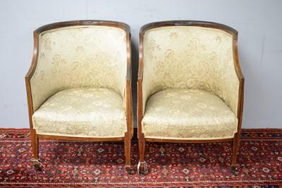 Lot 15 - Pair of Edwardian mahogany chairs.