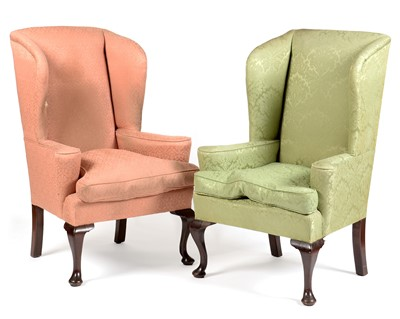 Lot 915 - Two late 19th Century George II style wingback armchairs