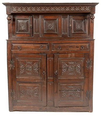 Lot 914 - A 17th Century and later court cupboard