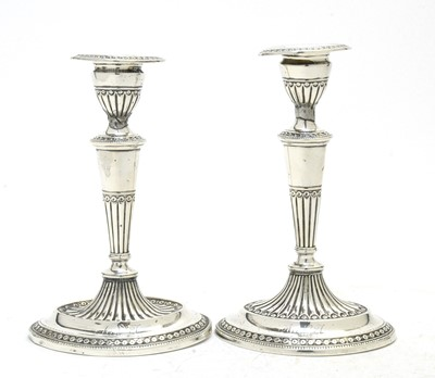 Lot 176 - A pair of Victorian silver candlesticks