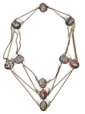 Lot 327 - 19th Century Indian miniatures. set as a necklace