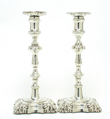 Lot 175 - A pair of early Victorian silver candlesticks