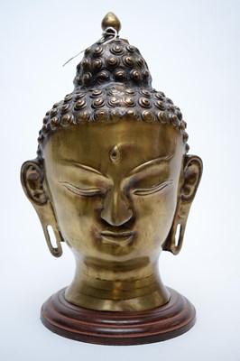 Lot 349 - 20th C bronze Buddha head.