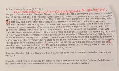 Lot 1078 - Distinguished Flying Medal group, awarded to 567989 Sergeant Stephen Edward Gould