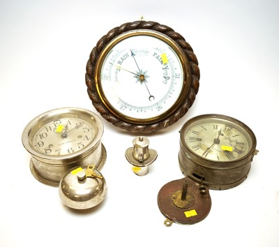 Lot 276 - Two wall clocks and a barometer