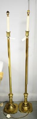 Lot 282 - A pair of brass lamp standard