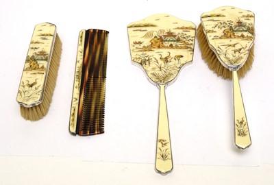 Lot 201A - A George V silver and enamel Japonisme dressing table set