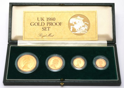 Lot 4 - 1980 four coin gold proof sovereign set
