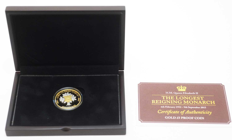 12 - Her Majesty Queen Elizabeth II Longest Reigning Monarch £5 gold proof coin