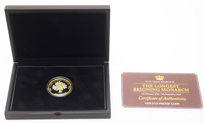 Lot 12 - Her Majesty Queen Elizabeth II Longest Reigning Monarch £5 gold proof coin