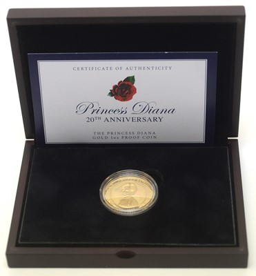 Lot 14 - Princess Diana 20th Anniversary gold $100 proof coin