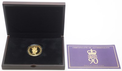 Lot 15 - Her Majesty The Queen's 90th Birthday £5 gold proof coin