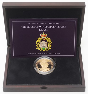 Lot 16 - The House of Windsor Centenary gold £5 piedfort coin