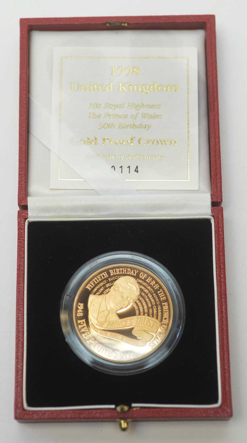 18 - H.R.H. Prince of Wales 50th Birthday gold proof crown
