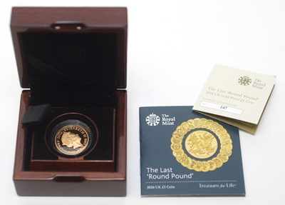 Lot 20 - The Last 'Round Pound', issued by The Royal Mint in 2016 as a £1 22ct gold proof coin