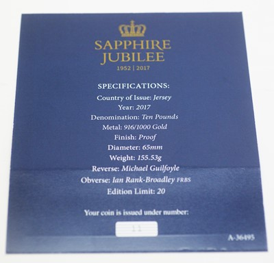 Lot 26 - A Sapphire Jubilee gold £10 proof 5oz coin