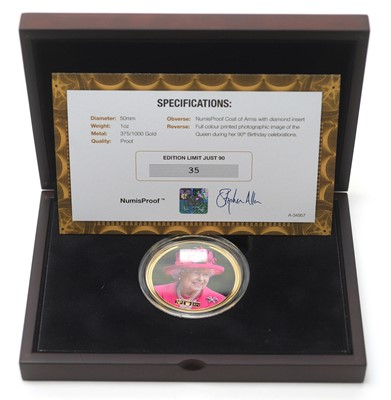 Lot 27 - The Queen's 90th Birthday gold NumisProof coin