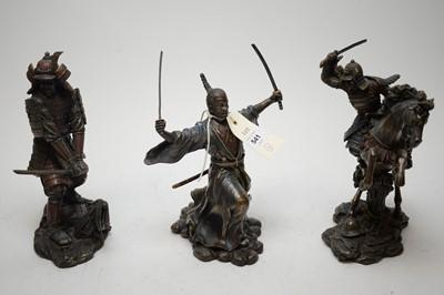 Lot 541 - Three Samurai Warrior figures.