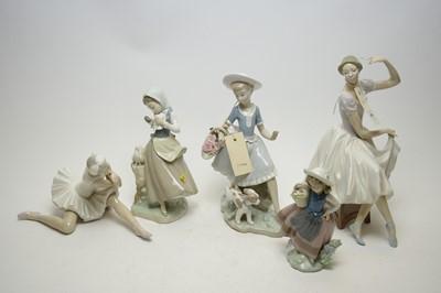 Lot 409 - Five Lladro porcelain figures.