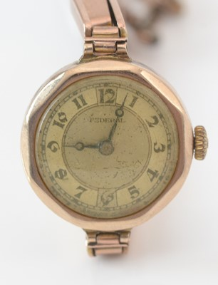 Lot 293 - 9ct. yellow gold cased Sederal cocktail watch.