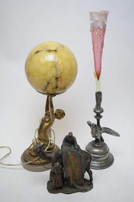 Lot 519 - Art Deco style globe lamp; Spelter camel group; and Britannia metal vase.