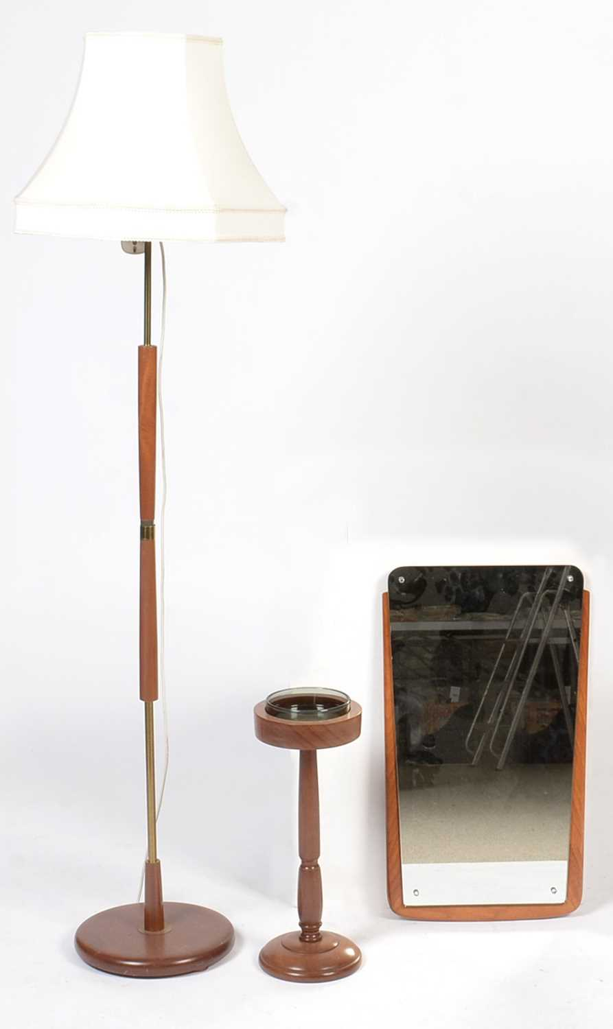 Lot 764 - Mid-century framed mirror, smoker's stand; and brass-bound lamp standard.