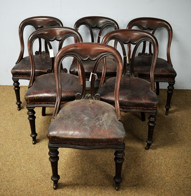 Lot 49 - A set of six Victorian mahogany spoon back dining chairs