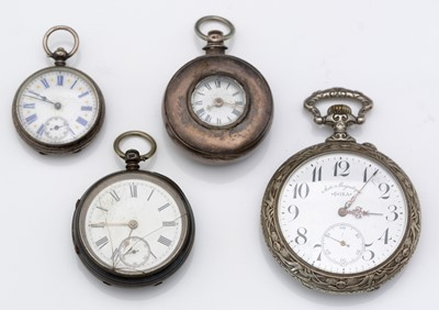 Lot 303 - Plated cased Goliath pocket watch; and three other watches, various.