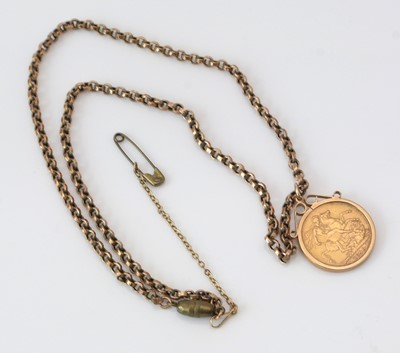 Lot 150 - Late Queen Victorian gold sovereign on pendant mount.