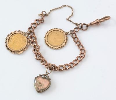 Lot 271 - 9ct. yellow gold curb link charm bracelet.