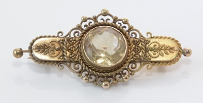 Lot 276 - Late Victorian 15ct. yellow gold and citrine brooch.