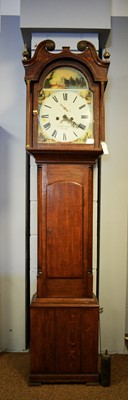 Lot 126 - 19th C eight-day oak longcase clock.