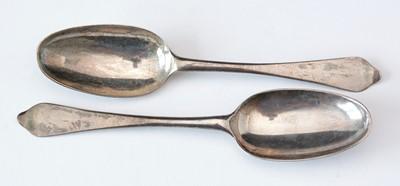 Lot 251 - Pair of George II silver spoons.