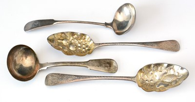 Lot 248 - Two George III silver tablespoons; and two silver sauce ladles.
