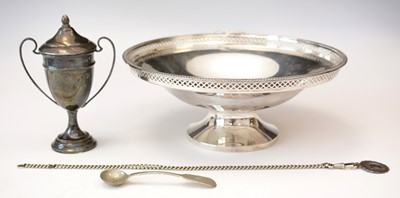 Lot 173 - Silver pedestal bowl; silver trophy; and other items.