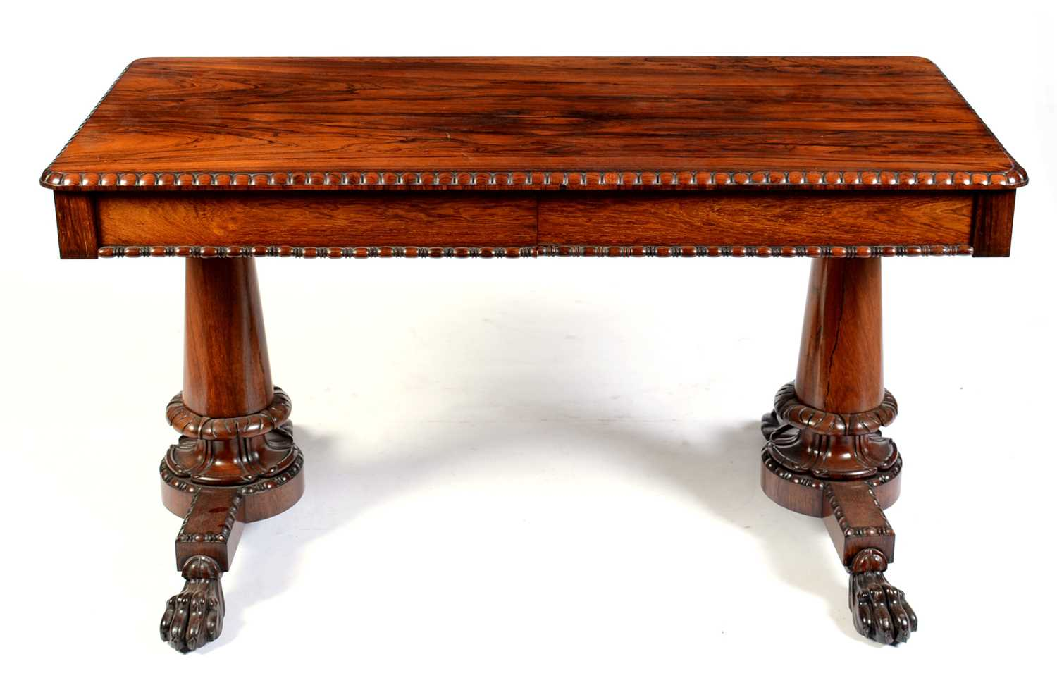 Lot 677 - William IV rosewood library table, stamped Gillows, Lancaster