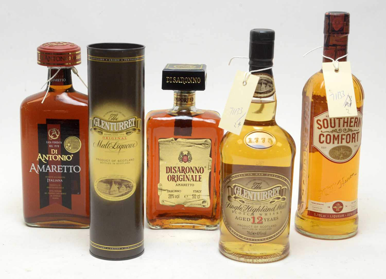 Lot 5 - Glenturret, Southern Comfort, and other bottles.