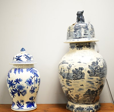 Lot 408 - Two large modern Chinese-style vases and covers.