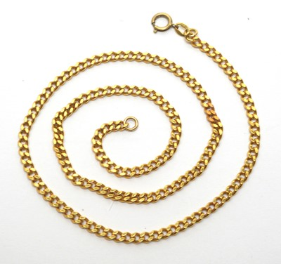 Lot 215 - Yellow metal curb link chain necklace