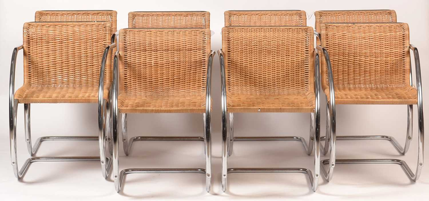 837 - After Ludwig Mies van der Rohe: eight MR20 armchairs, c1970's.
