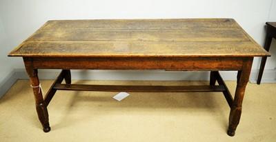 Lot 118 - 19th C oak refectory table.