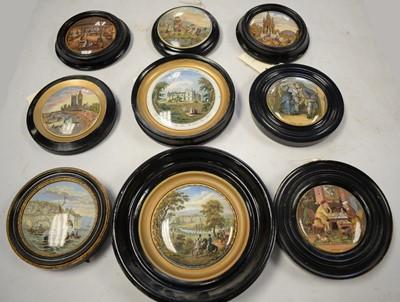 Lot 467 - Collection of 19th C colour Prattware pot lids.