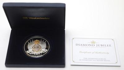 Lot 30 - Diamond Jubilee 60-diamond 5oz silver medal