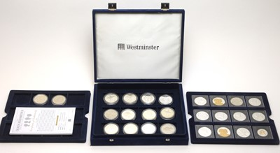 Lot 36 - Silver proof Crowns and other coins