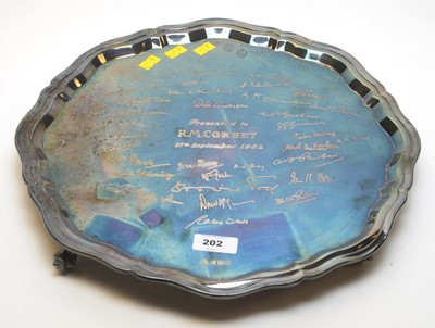 Lot 202 - Silver waiter with engraved signatures