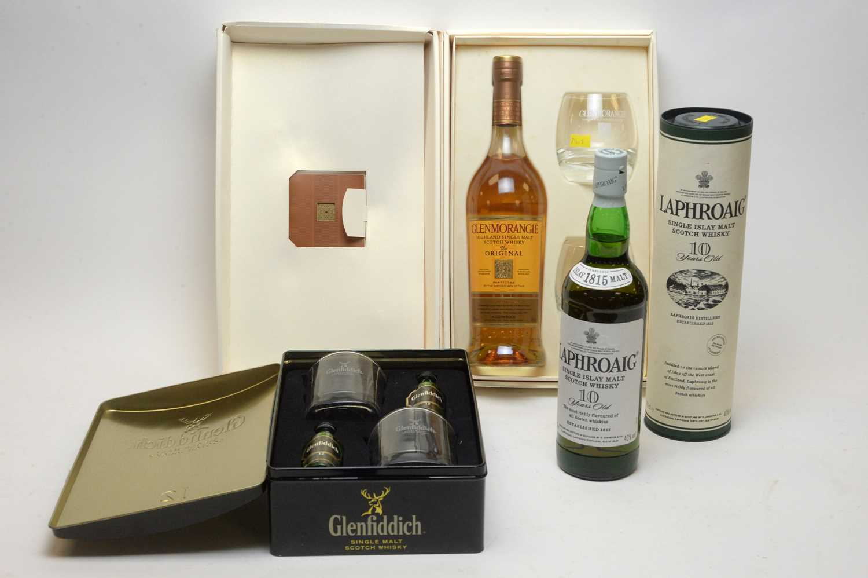 Lot 11 - Glenfiddich (5cl), Glenmorangie and Laphroaig 70cl..